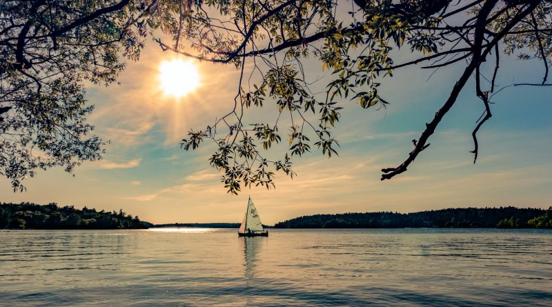 En mindre sejlbåd, som sejler på en sø i idylliske omgivelser