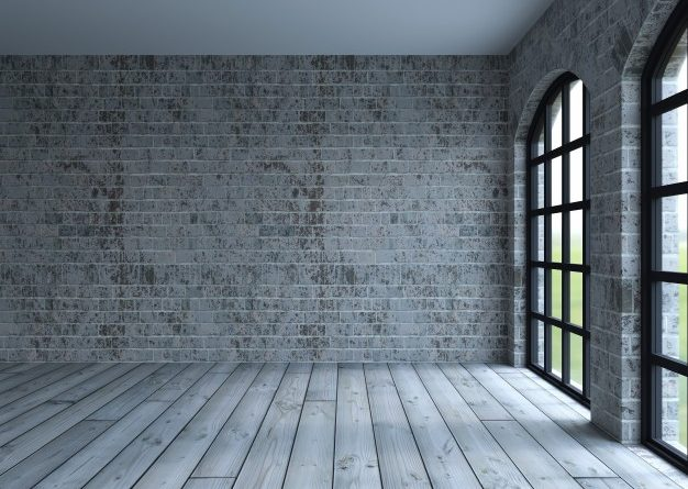 En stom stue i med store vinduespartier